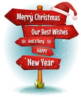 Merry Christmas Wishes On Red Signs Arrows