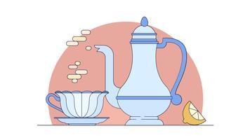 Vector de la hora del té