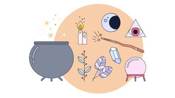 Witchcraft items Vector