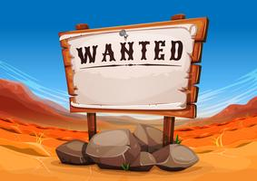 Wanted Wood SIgn On Far West Desert Landscape vector