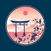 Blosoms de cereja em Miyajima Torii