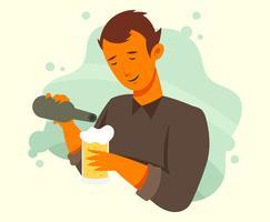 Guys Drinking Beer Illustration