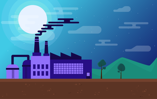 Vector Factory Landscape Illustration