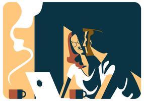 Um homem e uma reunião de mulher no vetor de Caffee
