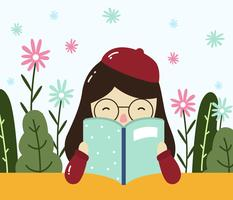 tjej läsning bok. bokmask vektor.
