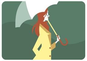 Red Hair Girl Holding Umbrella Vector