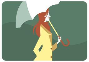 Red Hair Girl Holding Umbrella Vector