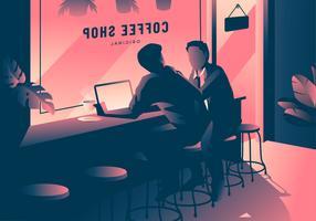 Ilustración de reunión de cafetería