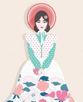 Girl With Flowers Dress Vector