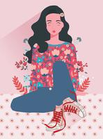 Girl With Flowers Vol 3 Vector