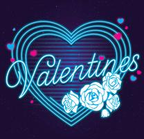 Neon Valentine Blue Color Vector