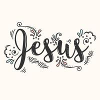 Vecteur de lettrage à la main de Jésus