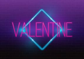 Joyeuse saint Valentin. Néon 3D. Enseigne au néon réaliste. Signe de l'amour Amour enseigne au néon.
