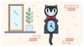 Cat Clock Vector