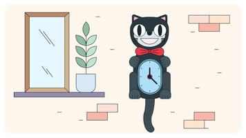 Vecteur d'horloge de chat
