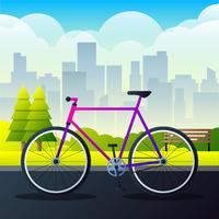 Sports City Bicycle On A Park Road Vector Illustration