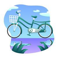 Unique Green Bicycle Vector