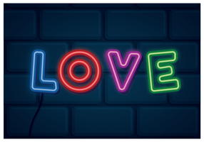 Love Neon Sign vector
