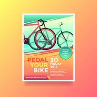 Pedal Sua Bicicleta Saúde Lifestyle Flyer Vector