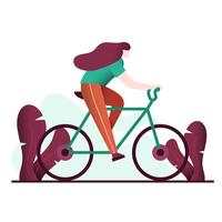 Young Woman Riding Bicycle Vector Illustration