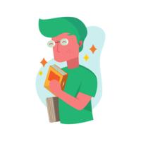 Bookworm Guy Vector