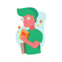 Bookworm Guy Vector