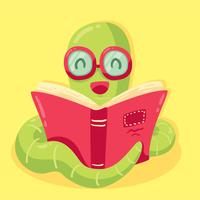 Funny Cartoon Bookworm Vector