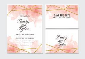 Vector Geometric Watercolor Wedding Invitation