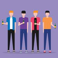 Happy Male Friends Drinking Beer Illustration