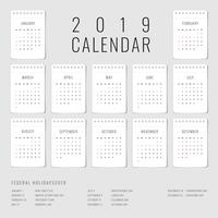 Printable Calendar 2019 Set Of 12 Monthly Template