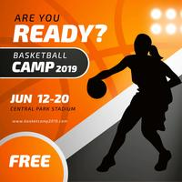 Basketball Camp Poster Template With Female Player Silhouette