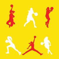Pack de vecteur de joueur de basket féminin