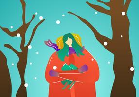 Beautiful Model Portrait In Winter Outdoors Vectors