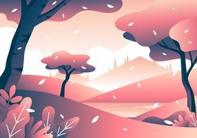 körsbärsblomning vårlandskap