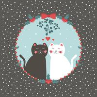 Cat Couple Under Mistletoe Vector