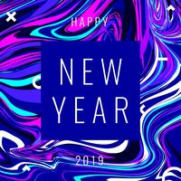 Happy New Year Instagram Post Marble Effect Background Fun