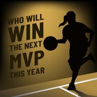 Plantilla de banner de MVP con jugador de baloncesto femenino silueta
