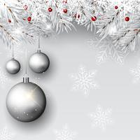 Christmas baubles on silver branches  vector