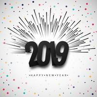 2019 Happy New Year text colorful shiny background vector