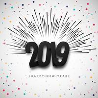 2019 Gelukkig Nieuwjaar tekst kleurrijke glanzende achtergrond
