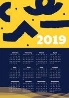 2019 afdrukbare kalender vectorontwerp