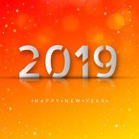 Feliz año nuevo 2019 celebración tarjeta fondo colorido