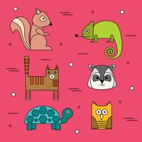 Vetor de animais de forma geométrica