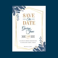 Watercolor Geometric Floral Wedding Invitation Template