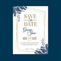 Plantilla de invitación de boda floral geométrico acuarela