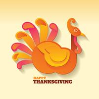 Happy Thanksgiving Day with Turkey Paper Art vector
