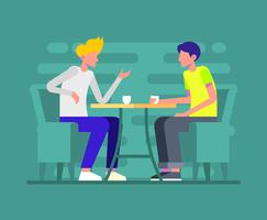 Coffee Shop Meeting Illustration