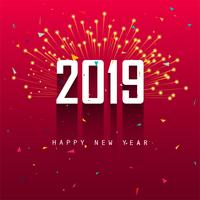 Elegant 2019 happy new year colorful card design