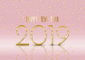 Happy New Year background with gold confetti