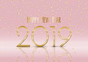 Felice anno nuovo sfondo con coriandoli oro